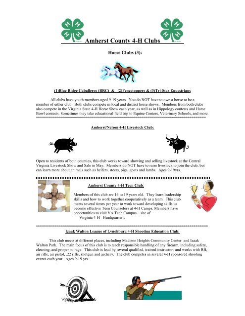 Amherst County 4 H Clubs Pdf 236kb Local Offices