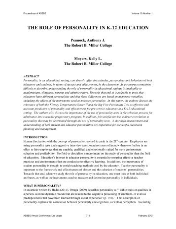 THE ROLE OF PERSONALITY IN K-12 EDUCATION - Asbbs.org