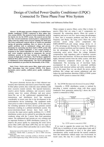 Design of Unified Power Quality Conditioner (UPQC ... - ijcee