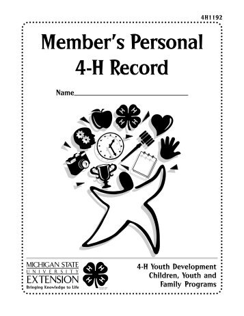 Member's Personal Record Book - Michigan State 4-H