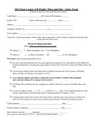 2013 Four County 4-H Poultry Show and Sale – Entry Form