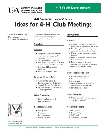 Ideas for 4-H Club Meetings - WVU Extension Service - Fayette County