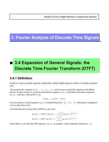 the Discrete Time Fourier Transform (DTFT)