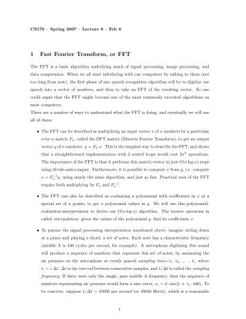 1 Fast Fourier Transform, or FFT - Computer Science Division