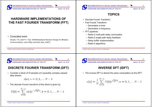 hardware implementations of the fast fourier transform