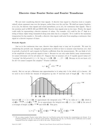 Discrete–time Fourier Series and Fourier Transforms - UBC Math