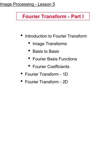 Fourier Transform - Part I