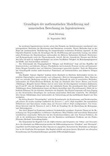 Grundlagen der mathematischen Modellierung und numerischen ...
