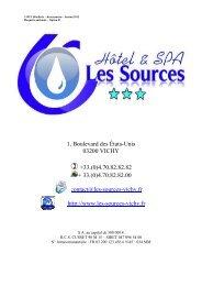 plaquette hôtel les sources - Hôtellerie-Restauration
