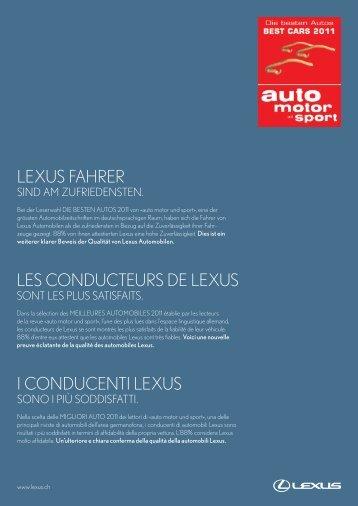 LEXUS FAHRER LES CONDUCTEURS DE LEXUS I ... - Emil Frey AG