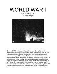 World War I: A High School Social Studies Unit - TeacherLINK