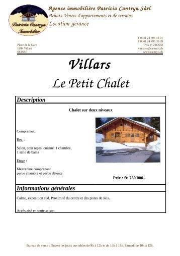 Villars Le Petit Chalet - Patricia Cantryn Immobilier vente location ...