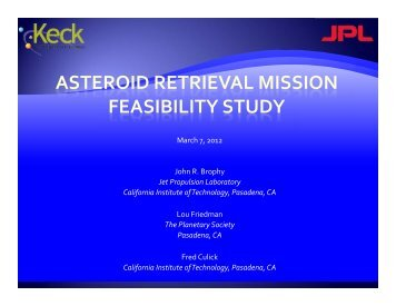 """Asteroid Retrieval Mission Feasibility Study"" (pdf) - Keck Institute for ..."