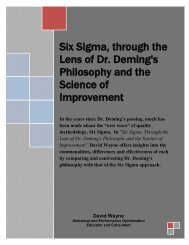 Six Sigma, Through The Lens Of Dr. Deming's Philosophy And