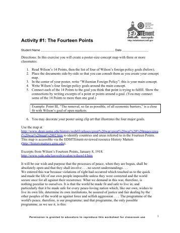 Activity #1: The Fourteen Points - EDSITEment