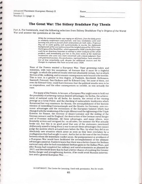 sidney bradshaw fay thesis worksheet