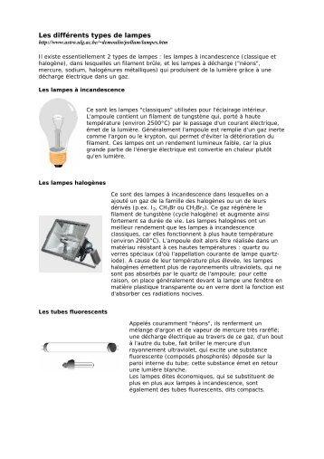Les différents types de lampes - Speec SA