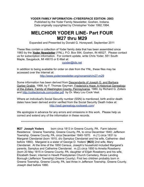 Melchior Yoder Line Part Four M27 Thru M29 Yoder Family