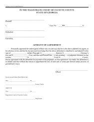 Affidavit of Garnishment - Fayette County Government