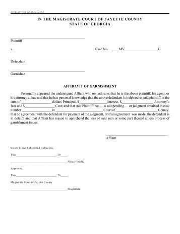 Affidavit of Garnishment - Fayette County Government