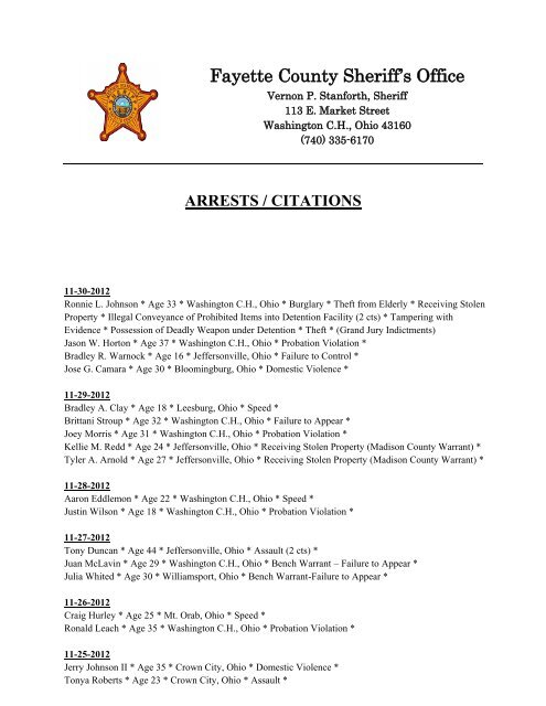 November 2012 Arrest Reports - Fayette County Sheriff's Office