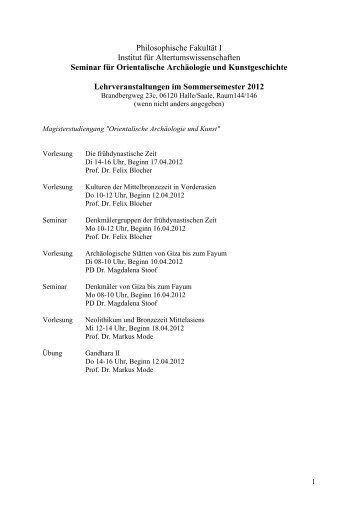 Lehrveranstaltungen der Magisterstudiengänge und des BA ...