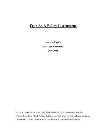 Fear As A Policy Instrument - Center for Experimental Social ...