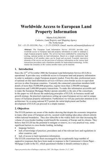 Worldwide Access to European Land Property Information - EUReGOV