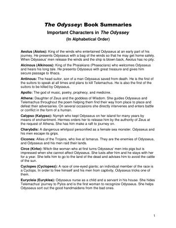 The Odyssey: Book Summaries