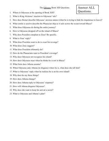 Odyssey Books 13-16 Questions - TeacherWeb