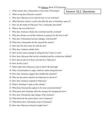 Odyssey Books 21-24 Questions - Teacher Web