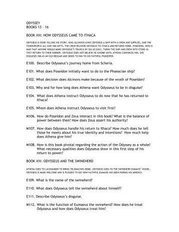 ODYSSEY BOOKS 13 – 16 BOOK XIII: HOW ODYSSEUS CAME TO ...