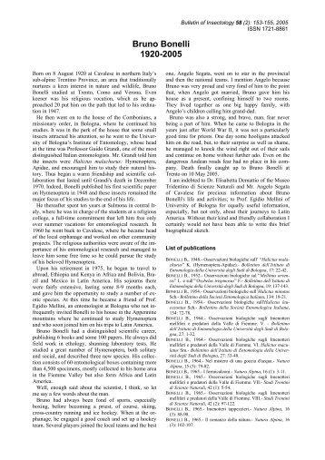 Bruno Bonelli 1920-2005 - Bulletin of insectology