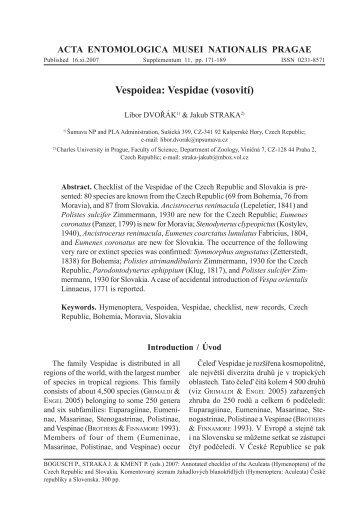 Vespidae (vosovití) - Acta Entomologica Musei Nationalis Pragae