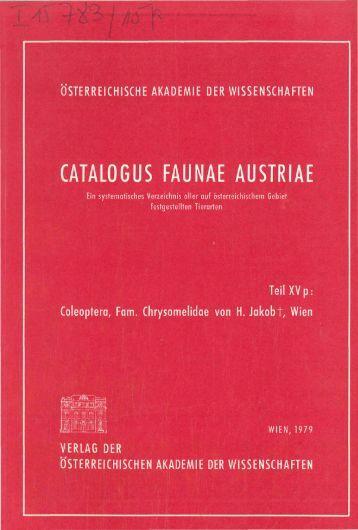 CATALOGUS FAUNAE AUSTRIAE