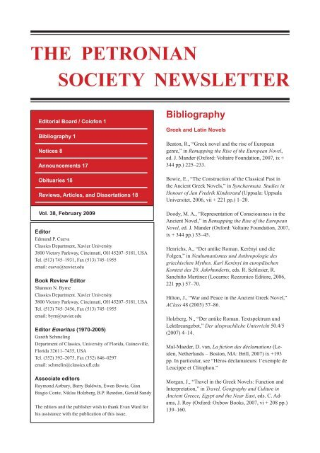 The Petronian Society Newsletter Ancient Narrative