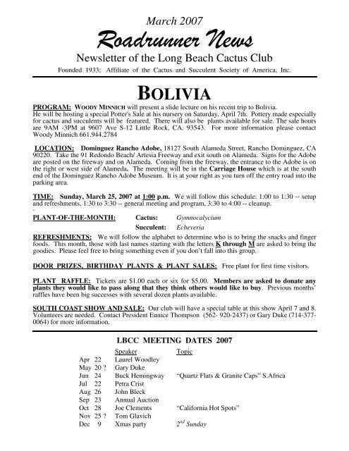 Roadrunner News - The Long Beach Cactus Club