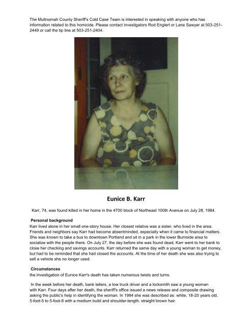 Eunice B  Karr - Multnomah County Sheriff's Office
