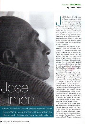Jose Limon Dance Teacher Mag. 2006 - Daniel Lewis