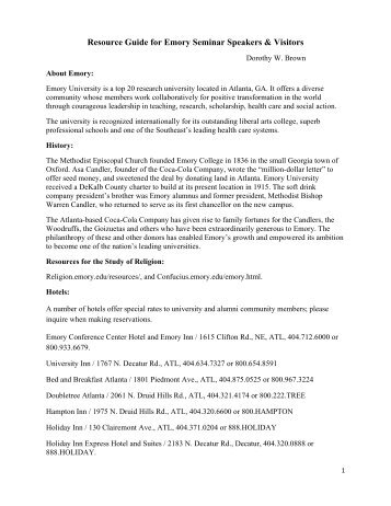 Resource Guide For Emory Visitors - Department of Cell Biology ...