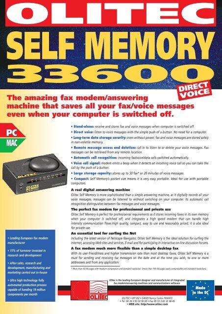 OLITEC MODEM UNIVERSAL SELF MEMORY PRO DRIVERS FOR PC