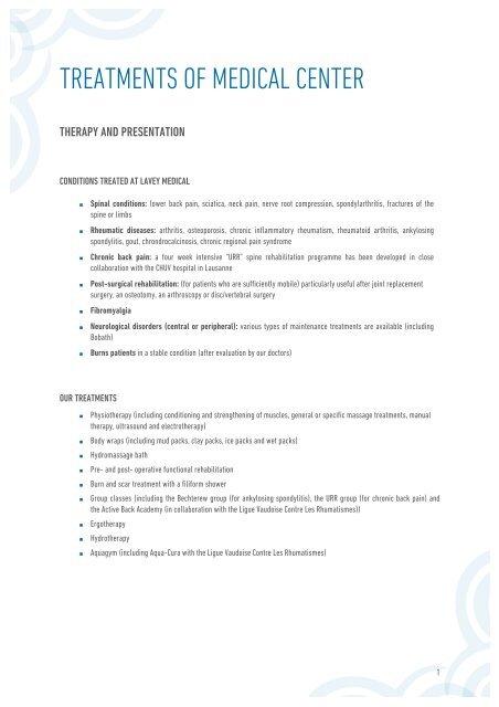 03 PDF Treatments of Medical Center - Les Bains de Lavey