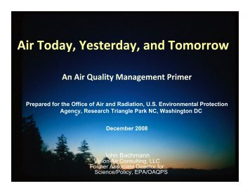 Air Today, Yesterday, and Tomorrow - US Environmental Protection ...