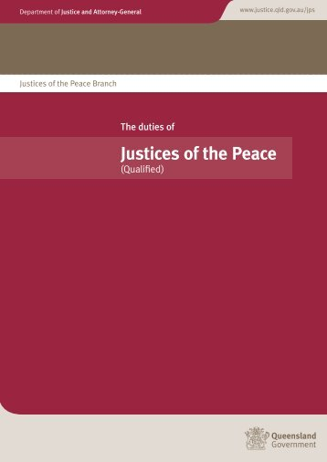 Justices of the Peace - Department of Justice and Attorney-General