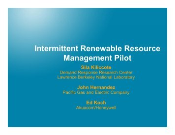 Intermittent Renewable Resource Management Pilot