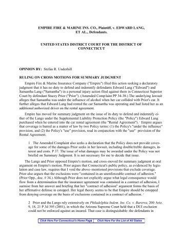 EMPIRE FIRE & MARINE INS. CO., Plaintiff, v. EDWARD LANG, ET ...