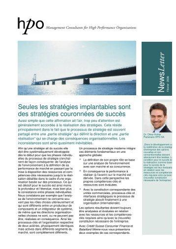 Les stratégies implentables - HPO