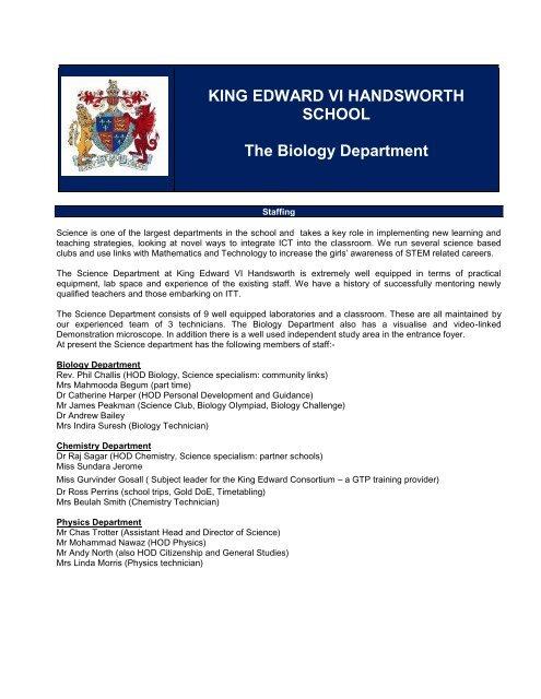 KING EDWARD VI HANDSWORTH SCHOOL The Biology Department