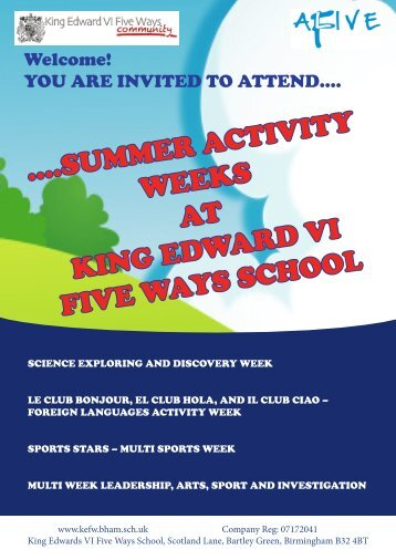 KEFW Community Summer Activity - King Edward VI Five Ways