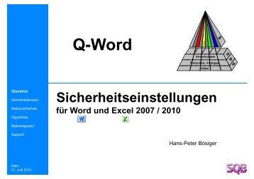 Sicherheitseinstellungen für Word und Excel 2007 / 2010